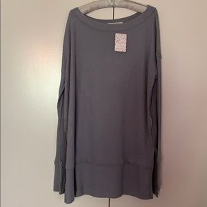 We The Free People gray thermal top medium NEW NWT